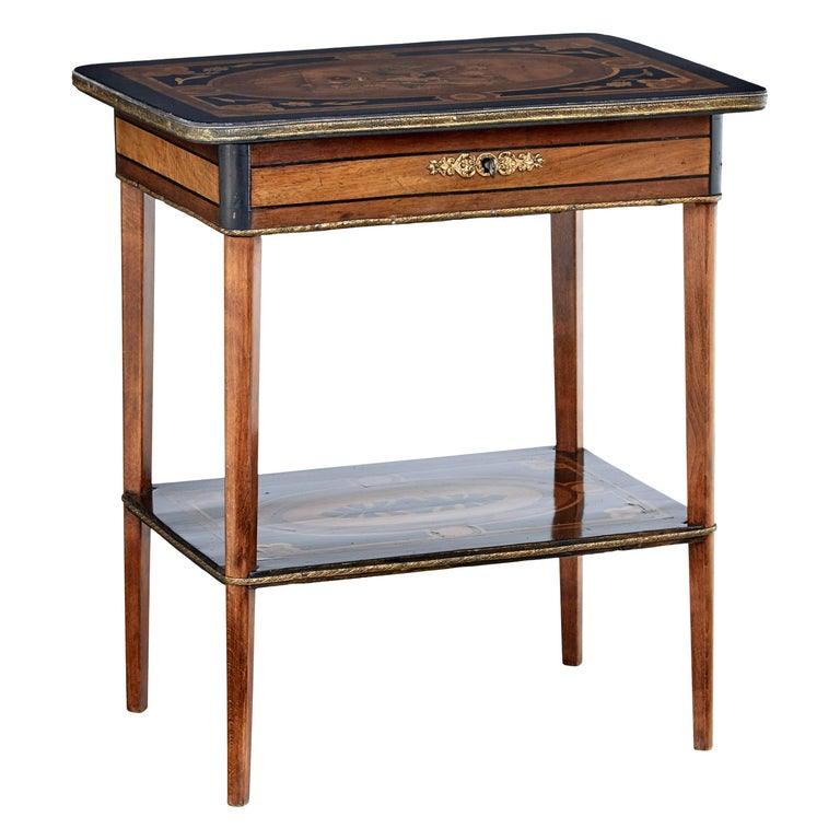 19th Century Mahogany Inlaid Ladies Work Table For Sale