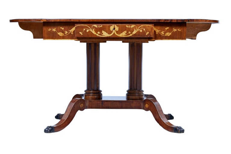 High Victorian 19th Century Mahogany Inlaid Sofa Table For Sale