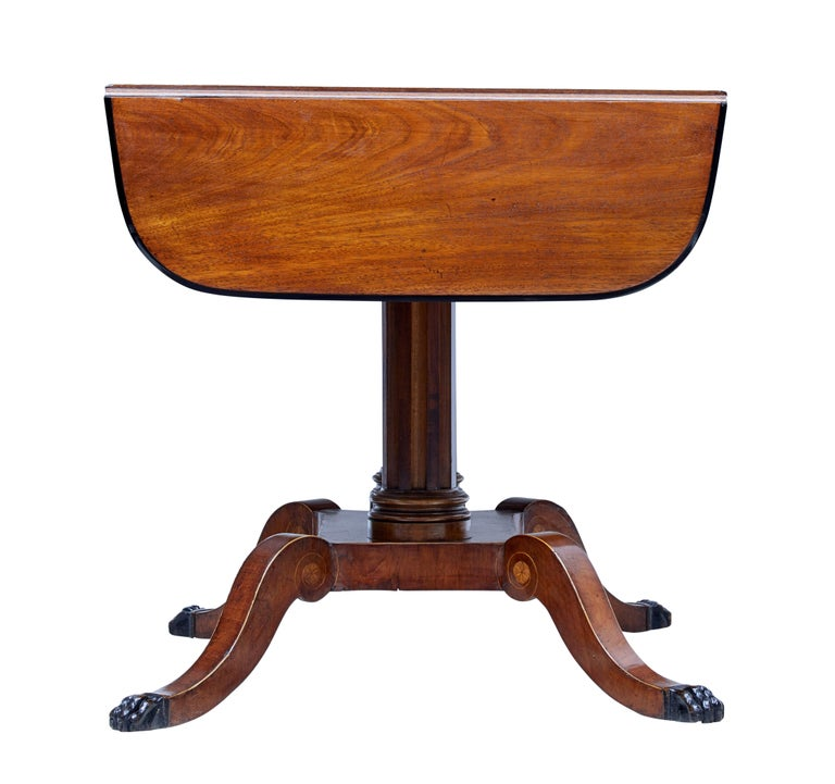 Swedish 19th Century Mahogany Inlaid Sofa Table For Sale