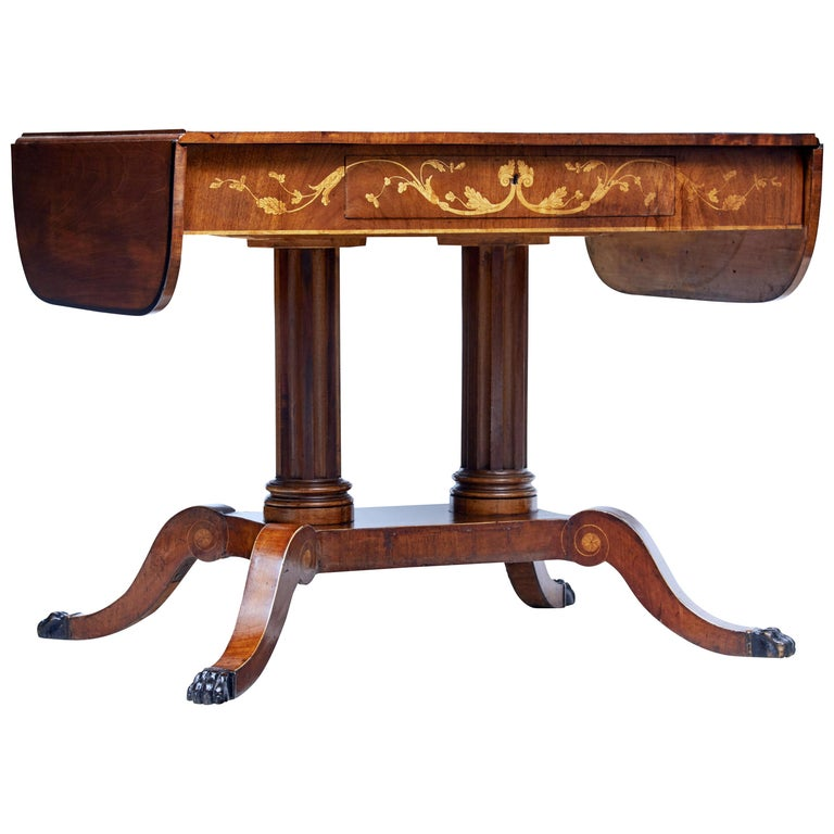 19th Century Mahogany Inlaid Sofa Table For Sale
