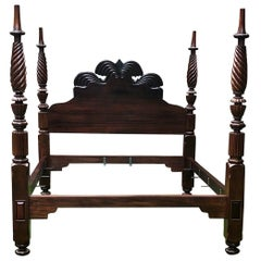 19th Century Mahogany Jamaican Double Waterfall Bed