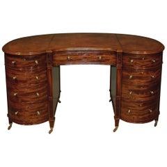 19th Century Mahogany Kydney Shaped Pedestal Desk