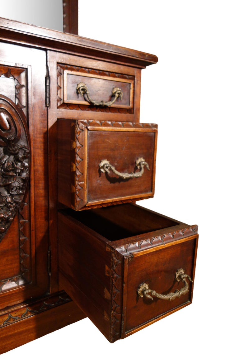 19th Century Mahogany & Marquetry Dresser with Medallion of Giovanni Maffezzoli For Sale 8