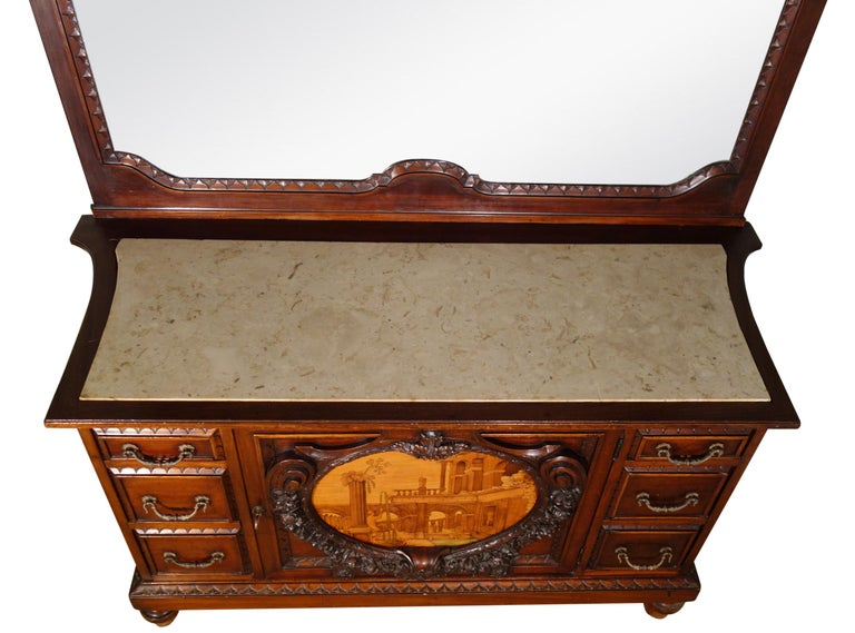 19th Century Mahogany & Marquetry Dresser with Medallion of Giovanni Maffezzoli For Sale 13