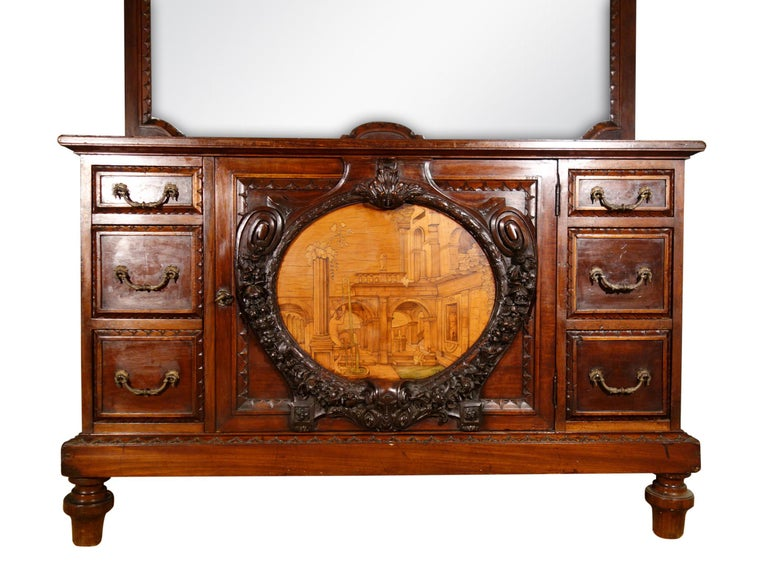 Romantic 19th Century Mahogany & Marquetry Dresser with Medallion of Giovanni Maffezzoli For Sale