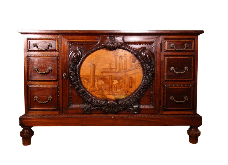Italian 19th Century Mahogany & Marquetry Dresser with Medallion of Giovanni Maffezzoli For Sale