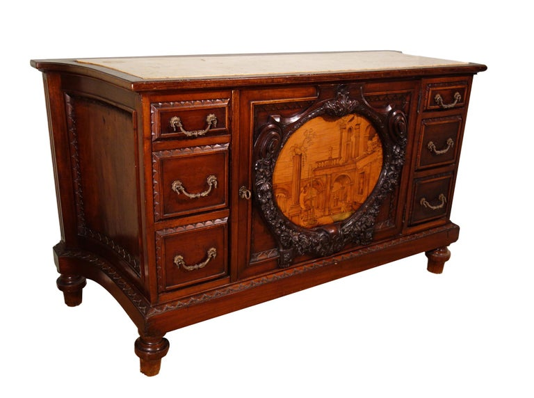Cast 19th Century Mahogany & Marquetry Dresser with Medallion of Giovanni Maffezzoli For Sale