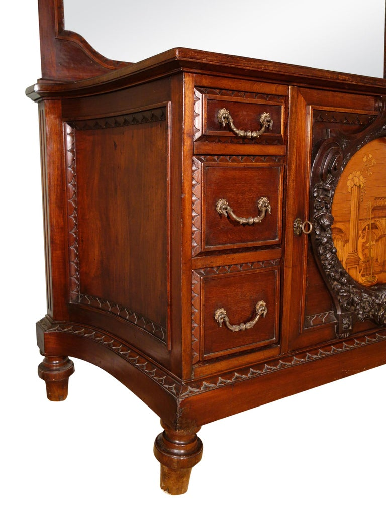 19th Century Mahogany & Marquetry Dresser with Medallion of Giovanni Maffezzoli In Good Condition For Sale In Encinitas, CA