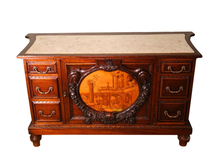Brass 19th Century Mahogany & Marquetry Dresser with Medallion of Giovanni Maffezzoli For Sale