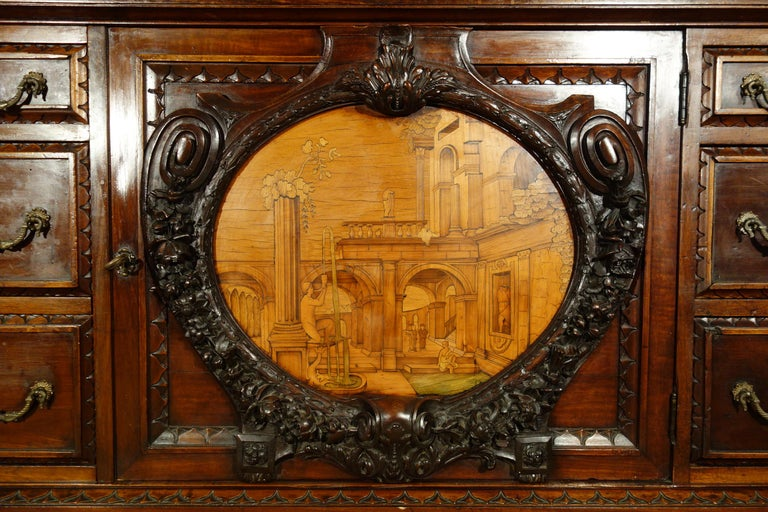 19th Century Mahogany & Marquetry Dresser with Medallion of Giovanni Maffezzoli For Sale 1
