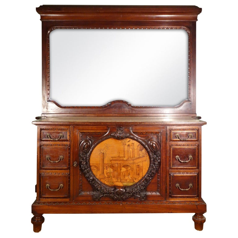 19th Century Mahogany & Marquetry Dresser with Medallion of Giovanni Maffezzoli For Sale