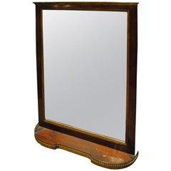 19th Century Mahogany Mirror with Shelf