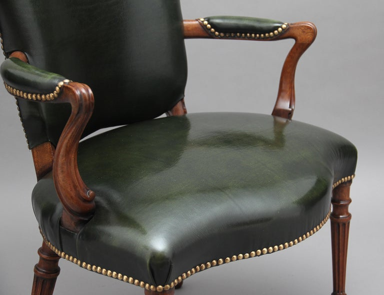 19th Century Mahogany Open Armchair For Sale 4