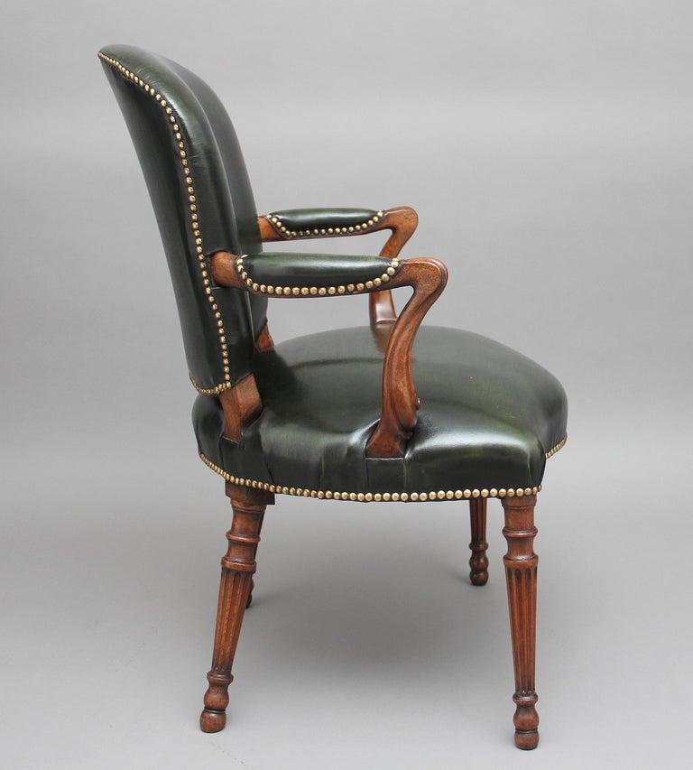 Regency 19th Century Mahogany Open Armchair For Sale
