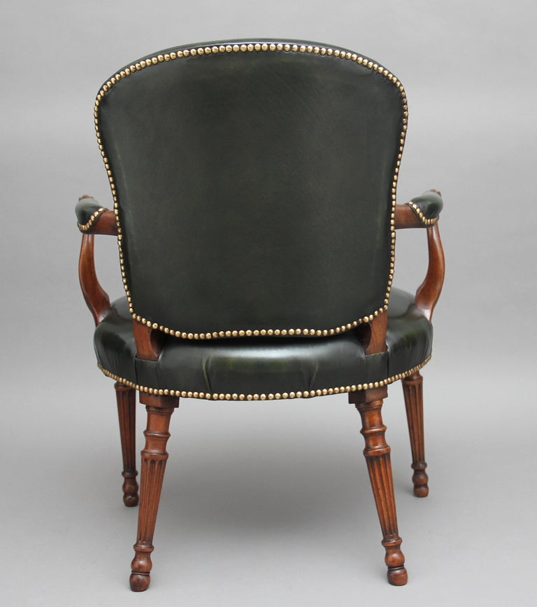English 19th Century Mahogany Open Armchair For Sale