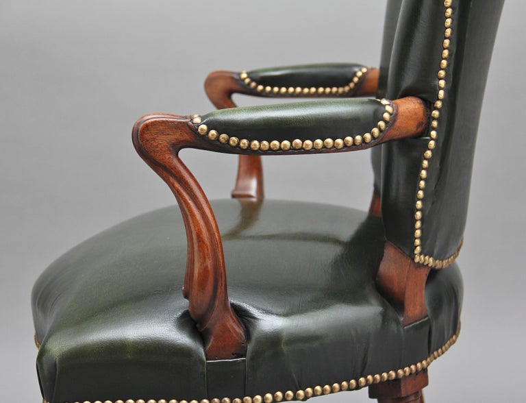 Mid-19th Century 19th Century Mahogany Open Armchair For Sale