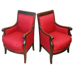 19th Century Mahogany Pair of Library Armchairs