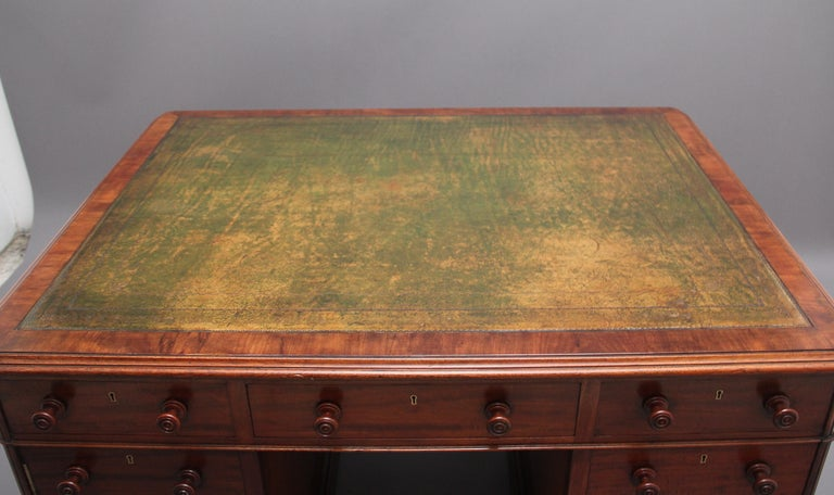 19th Century Mahogany Partners Desk Stamped Gillows For Sale 2