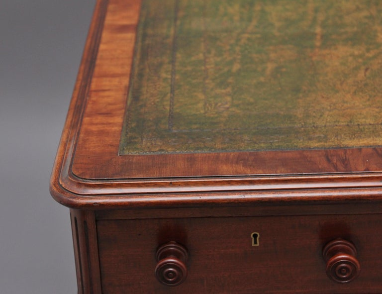19th Century Mahogany Partners Desk Stamped Gillows For Sale 3