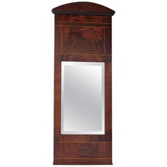 19th Century Mahogany Pier Mirror, Boxwood Ebony Inlaid, Original Glass, English
