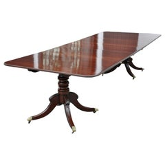 19th Century Mahogany Regency Style Two Pedestal Dining Table