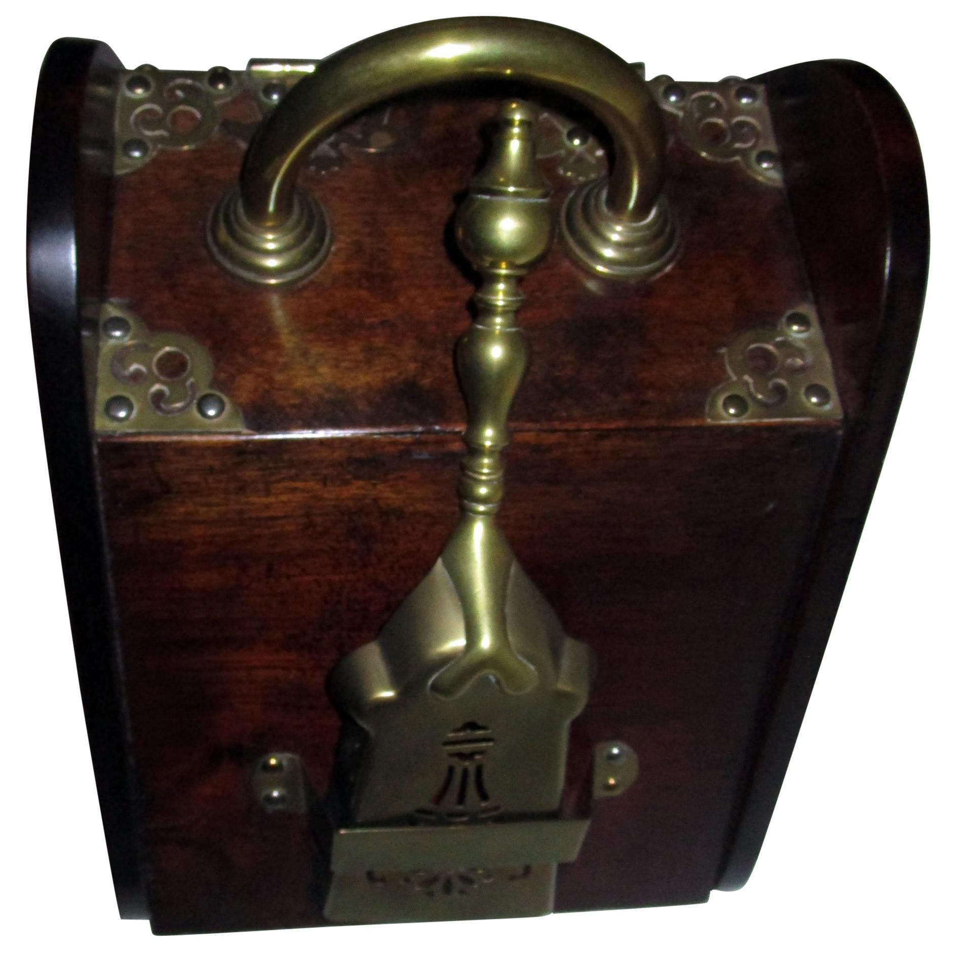19th century Mahogany Scottish Coal Scuttle with Heavy Brass Ornamentation