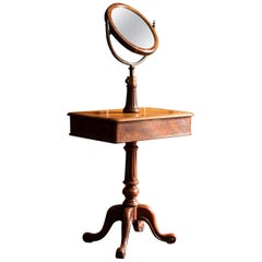 19th Century Mahogany Shaving Stand/Table and Adjustable Mirror