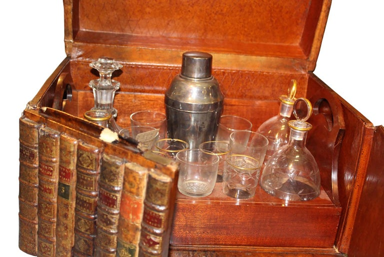 French 19th Century Mahogany Tantalus in the Form of Leather Bound Books For Sale