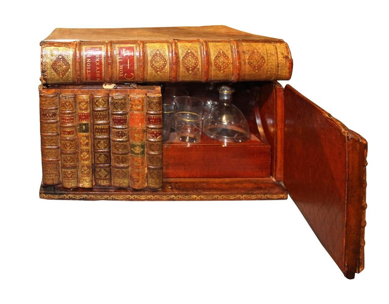 Late 19th Century 19th Century Mahogany Tantalus in the Form of Leather Bound Books For Sale