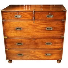 19th Century Mahogany Victorian Campaign Chest of Drawers