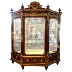 19th Century Mahogany Vitrine Armiore Cabinet by Guillaume Grohe