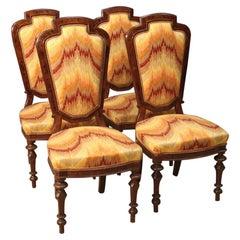 19th Century Mahogany Walnut Burl Beech 4 Italian Chairs, 1880