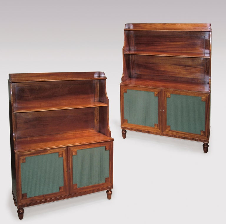 Regency 19th Century Mahogany Waterfall Bookshelves with Panelled Doors For Sale