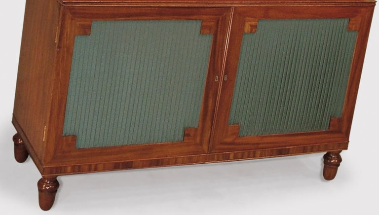 English 19th Century Mahogany Waterfall Bookshelves with Panelled Doors For Sale