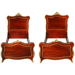 19th Century Mahogany Wood / Bronze Details Pair Twin Beds