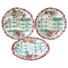 19th Century Majolica Asparagus Plate with Flowers Longchamp