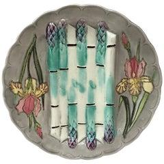 19th Century Majolica Asparagus Plate with Iris Longchamp, circa 1890