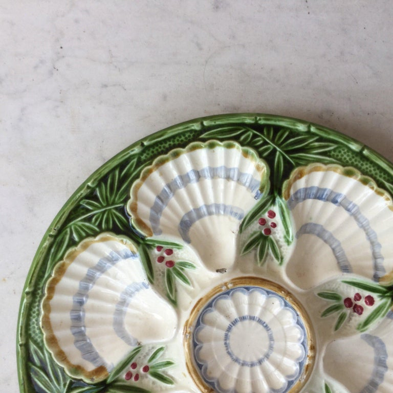 Aesthetic Movement 19th Century Majolica Bamboo and Berries Oyster Plate Salins For Sale