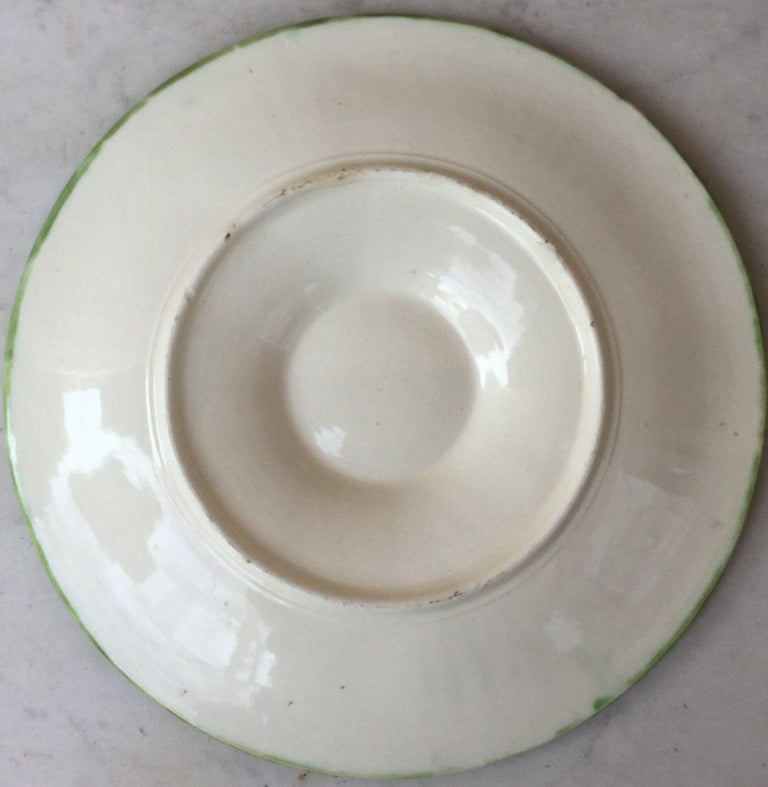 French 19th Century Majolica Bamboo and Berries Oyster Plate Salins For Sale