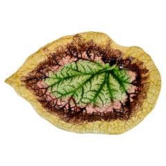 19th Century Majolica Begonia Leaf Tray