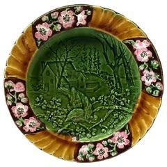 19th Century Majolica Bird Plate Sarreguemines