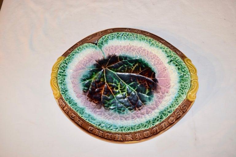 Glazed 19th Century Majolica Bread Tray For Sale