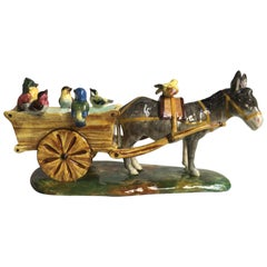 19th Century Majolica Cart with Donkey and Birds Jerome Massier Fils
