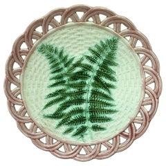 19th Century Majolica Fern Reticulated Plate Sarreguemines