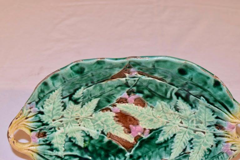 Glazed 19th Century Majolica Fern Tray For Sale