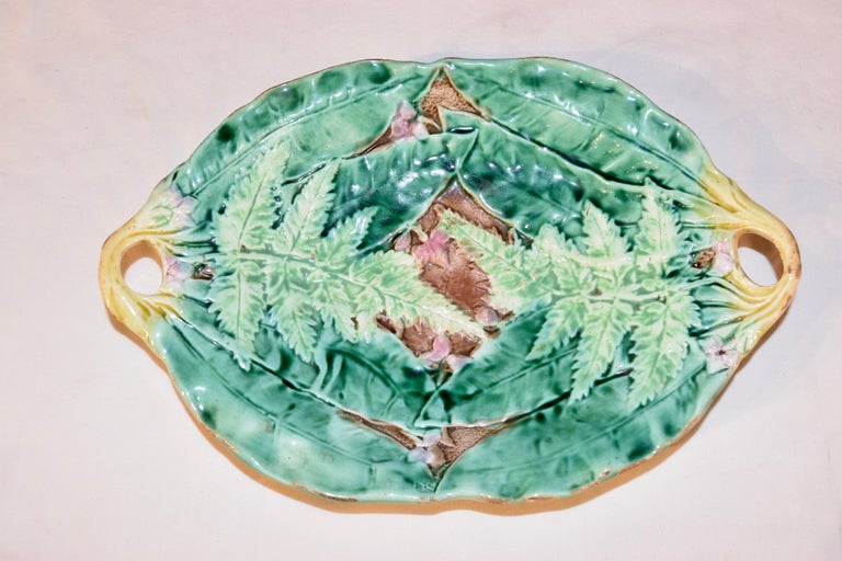 19th Century Majolica Fern Tray In Good Condition For Sale In High Point, NC