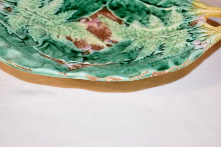Pottery 19th Century Majolica Fern Tray For Sale