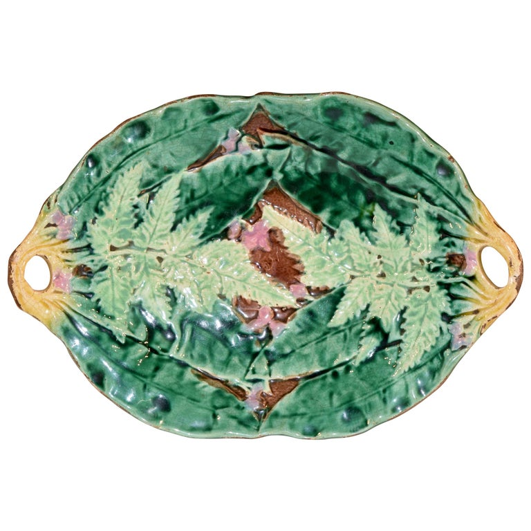 19th Century Majolica Fern Tray For Sale