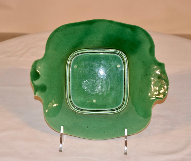 Victorian 19th Century Majolica Handled Dish For Sale
