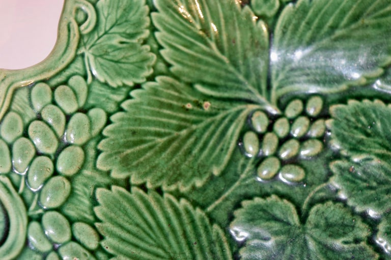 Glazed 19th Century Majolica Handled Dish For Sale